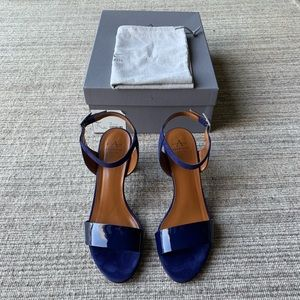 Blue Suede Block Heel with Ankle Strap
